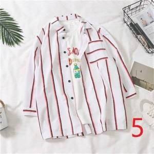 DHgate 2021 new summer vertical stripes 7 seven-sleeve men's trend short-sleeved shirt male students handsome wild jacket fqzv