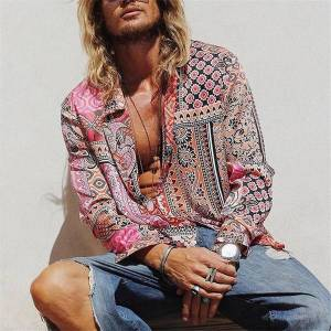 DHgate 2021 floral print vintage pink autumn hawaiian long sleeve shirt mens casual beach shirts men oversized koszula z8eq