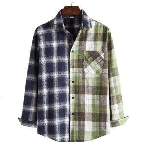 DHgate 2021 autumn mens oversized flannel shirts koszula black white plaid patchwork men vintage long sleeve shirt man blusas e3pa