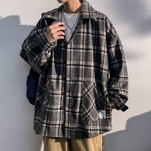DHgate 2021 new men's casual long cashmere trellis wool impression trench mixtures male jackets outerwear size large m-5xl q34c