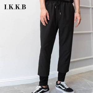 DHgate pant m-4xl spring and autumn fake two parts male wide japanese leg tidal models loose pants of nine points casual c2ro