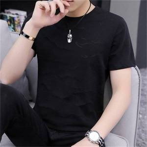 DHgate t shirts summer solid color t-shirt cotton thick and loose round neck short sleeve wild tide