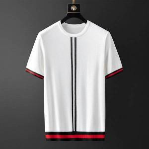 DHgate tee 2021 summer new jacquard self-cultivation fashion ice silk short-sleeved young men's wild round neck knit t-shirt