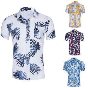DHgate men's summer casual short-sleeved shirt tencel cotton print design beach vacation leisure youth outdoor daily wear loose top