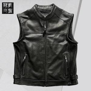 DHgate fashion leather halley motorcycle breathable summer mesh vest men's vertical collar rock casual