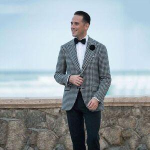 DHgate men's suits & blazers men classic suit black and white pattern winter wedding for groom tuxedo 2piece custom prom blazer terno mas