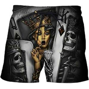 DHgate clothing 2021 men's casual 3d printed crown diamond skull beach black board quick dry shorts funny batsuit