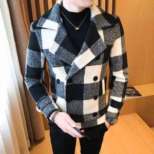 DHgate 2021 new men's short double-breasted design plaid casual woolen winter thick warm coat windbreaker asia m-5xl pd6c