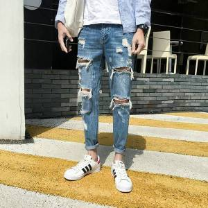 DHgate 2020 summer thin men's jeans korean version trendy fashion wild personality ripped jeans loose slim feet breathable