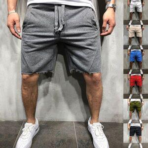 DHgate men cotton shorts streetwear wild style solid color loose hip hop ripped short pants jogger workout short pants bottoms
