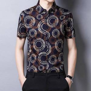 DHgate c-3109 exquisite ring 3d printing fashion casaul short sleeve shirt summer new quality cotton smooth icy luxury men shirt m-xxxl