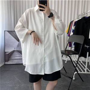 DHgate summer dress shirt men's fashion society men shirt solid color business casual streetwear wild loose short sleeve