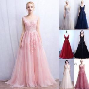 DHgate vestidos de novia a line deep-v back bead lace long tulle evening dresses backless ribbon colorful blush pink prom gowns cps304