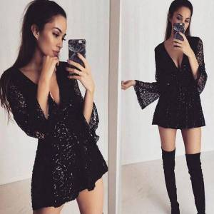 DHgate european and american-style new womens womens jumpsuits & rompers deep-v-long-sleeve lace cutout sequined waist romper