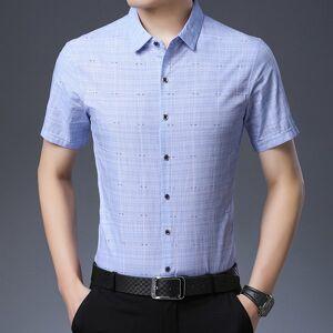 DHgate men casual plaid blue color shirt summer short sleeve slim fit business shirt turn-down collar cotton shirts for men