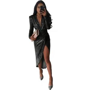DHgate 2019 european and american-style cross-border womens deep v-neck dinner temperament long-sleeve shiny slit charge pleated midi dress
