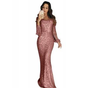 DHgate 2019 womens european and american-style cross-border maxi evening dress long-sleeve fringed dinner dress
