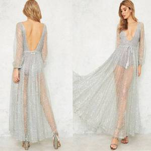 DHgate european and american-style new womens rhinestone sequins long sleeve dress transparent deep v nightclub dress
