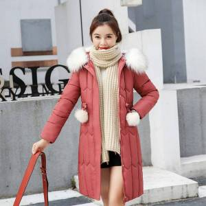 DHgate women long parkas 2020 winter slim cotton jacket korean style plus size with fur collar hooded thick solid outwear kurtka damska