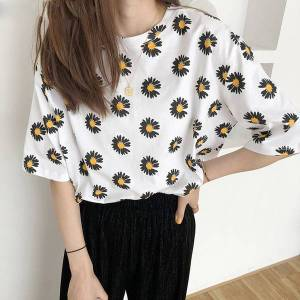 DHgate summer women flower printed t-shirt casual cotton  shirts for women wild loose short-sleeved ladies tees femme