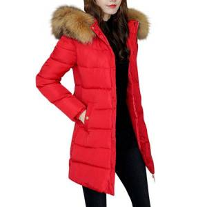 DHgate fashion women solid winter fur collar hooded manteau femme hiver long thick jacket coat outwear winter jacket kurtka damska