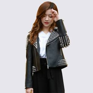 DHgate 2020 new punk woman jackets leather abrigo mujer kurtka damska wiosenna rivet zipper black korean short coats motosiklet montu
