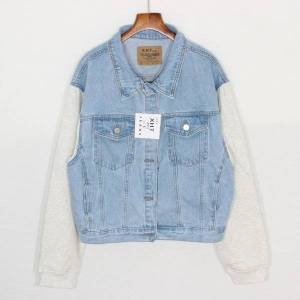 DHgate spring oversize women's vintage splice fake two short denim jacket streetwear kurtka jeansowa damska washed casual jeans jacket