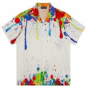 DHgate 2021 new korean shirts women blouses summer retro art casual paint graffiti loose wild couple short-sleeved plus size button up shirt qf