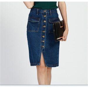 DHgate 2021 new plus size 3xl 4xl 5xl skirts womens vintage high waist classic blue button jeans slim office midi denim skirt p57c