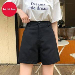DHgate 2020 summer korean trend pants solid color wild five-point pants loose straight sports casual shorts women1