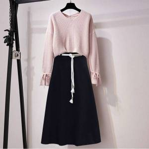 DHgate 2021 new autumn for women long sleeve rentals up knitted-or-crocheted pullover+ solid color 2 piece set ladies suit y487 emp8