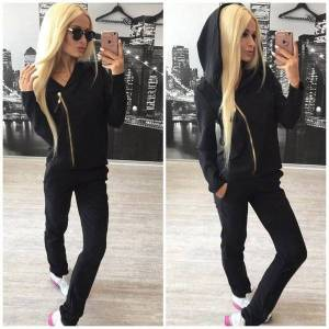 DHgate 0348 european and american two piece pants autumn fashion new ladies sports and leisure zipper suits 2020