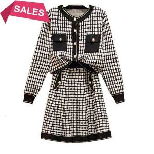 DHgate 2021 new noble style two outfits women spring cardigans  and mini skirt suits ladies 2 piece sets mvrg