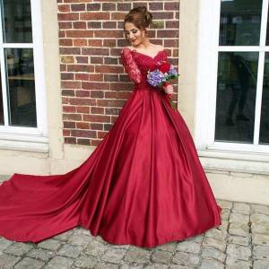 DHgate burgundy long sleeves lace prom dresses 2021 with appliques satin sweep train formal evening party gowns plus size