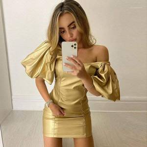 DHgate retro elegant basic bodycon mini dresses women's 2020spring summer wild casual club party dresses ladies1