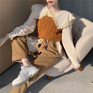 DHgate 2021 new korean version piece sets autumn winter trendy designer lace doll collar long sleeve knitted vest suit v18u
