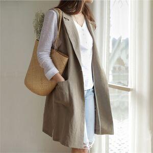 DHgate 2021 new summer female blazers jacket vest a cotton button linen divide wild midi s jkv8070 5hmh