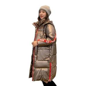 DHgate women thick coat plus size 2020 winter long jacket hooded shining korean style letter print loose parka mujer kurtka damska