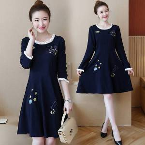 DHgate embroidery plus size dress 3xl-l-5xl fat blouse lets loose thin blue women high street casual dressed p43n