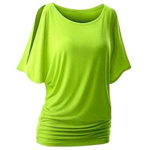 DHgate muyogrt women t-shirt summer shoulder casual loose short bat sleeve female tee shirt wild plus size women clothing