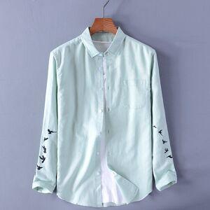 DHgate 2021 bordado new long-sleeved dos homens da marca casual camisa verde mens moda camisas respirveis masculino slida encabea chemise v01c