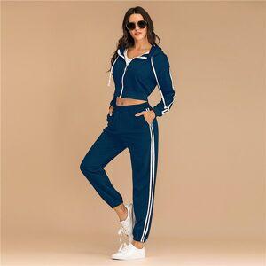 DHgate 2021 fashion striped hoodies set autumn winter full length pants tracksuit for women new 2 pieces sets plus size z5wm