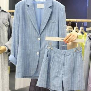 DHgate female ensemble spring fine summer striped cotton and small suit shorts wild linen two pieces 8sjl