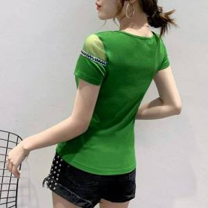 DHgate 2021 summer korean clothes t-shirt fashion o-neck diamonds bowknot women  ropa mujer short sleeve all match tees new t06509 ric1