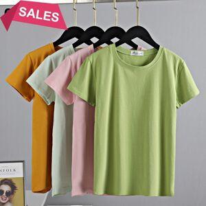 DHgate m-2xl solid new women t shirt 95% cotton basic t-shirt female o neck casual slim fit  summer short sleeve tshirt 2021 p1c4