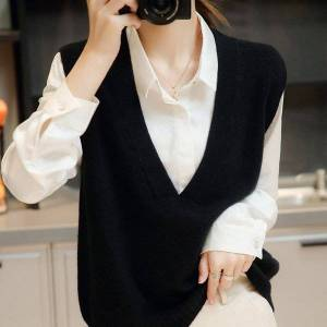 DHgate korean version 2021 autumn and winter v-neck loose thick solid color pure wool bottomed sweater ma jianv