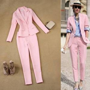 DHgate 2 female autumn sets 2021 spring and summer new thin england single pink jacket + nine pants points set ms wild trend 2d8u