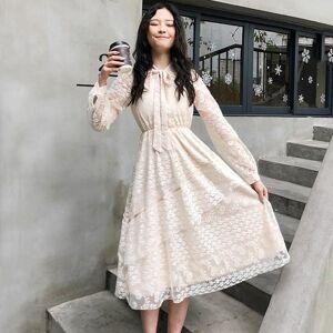 DHgate 2021 springtime vintage midi lace elegant girly ladies dress long sleeve thin bow tie to line dressed d267 det4