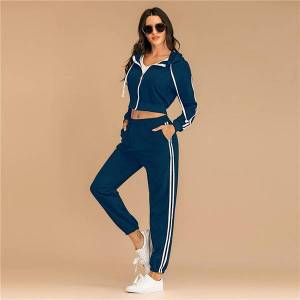 DHgate 2021 fashion striped hoodies set autumn winter full length pants tracksuit for women new 2 pieces sets plus size win1