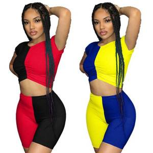 DHgate 2021 spring patchwork two piece outfits t-shirt crop women biker shorts matching sets clubwear party lounge wear y2k